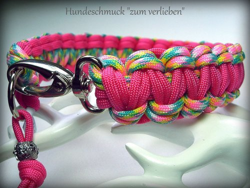 Hundehalsband Paracord pink/bunt
