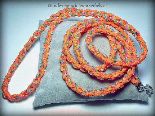 Hundeleine Paracord orange/bunt